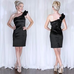 Black Couture One Shoulder Classy Cocktail Dress